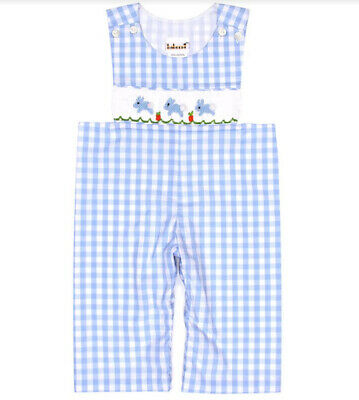 Boys Easter Bunny Blue Check Smocked Longalls Infant Toddler Easter 6m-2T NWT