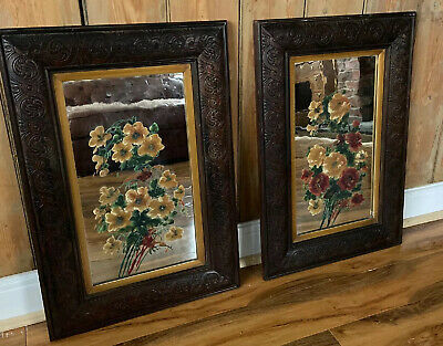 Pair Of Vintage Antique Arts & Crafts Wood Carved Framed Oil Painted Mirror