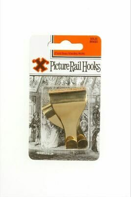 Frank Shaw X Solid Brass Plated Picture Rail Hanging Moulding Hooks Pack of 2
