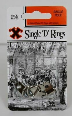 4 x 'X' Brand Single D Picture Hanging Nickel Plated Rings Fittings With Screws