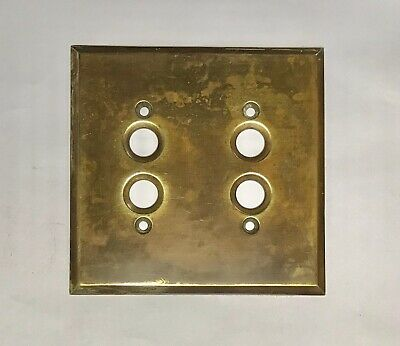Genuine Vintage Original Milled Brass Dual Push Button Light Switch Cover Plate