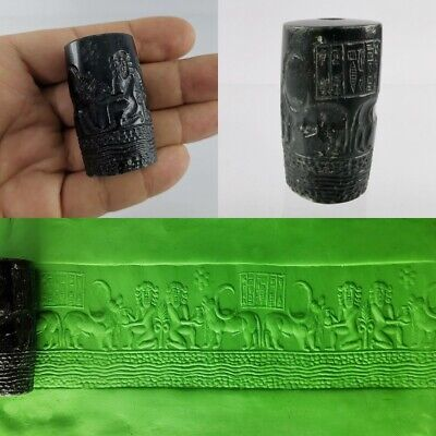 Near Eastern Cylinder Seal Bead Very Old Black Agate Round Intaglio #259