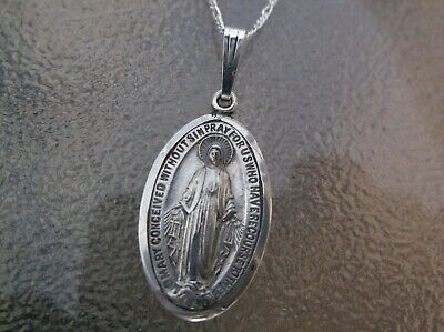 Vintage sterling silver Catholic Miraculous Medal pendant necklace 16""