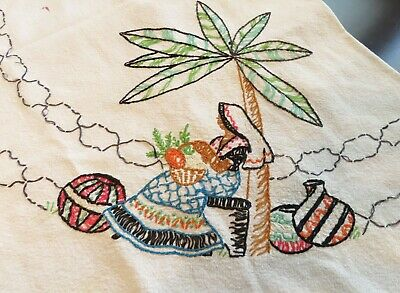 Large Vintage Embroidery Mexican Themed Table Cloth Siesta