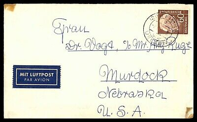 Mayfairstamps GERMANY 1960s AIR MAIL TO MURDOCK NE USA COVER wwd41105