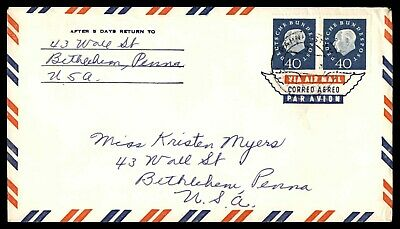 Mayfairstamps GERMANY 1960s AIR MAIL PAIR TO BETHELEHEM PA USA COVER wwd40907