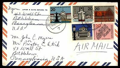 Mayfairstamps GERMANY 1970s STUTTGART AIR MAIL TO BETHELEHEM PA USA COVER wwd409