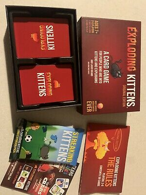 Exploding Kittens Game With Sealed Streaking Kittens Expansion Pack Mint