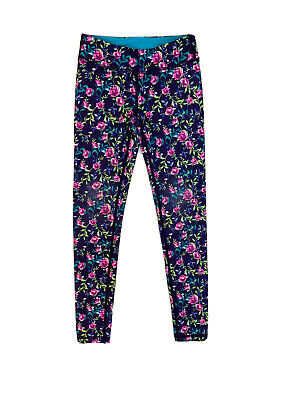 Ivivva Girls Kids Purple/Multi-Color Floral Fitted Tight Leggings Sz 8