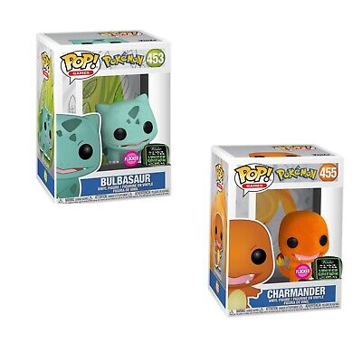 Funko Pop! Bulbasaur Charmander Flocked ECCC Shared Exclusive Preorder+Protector