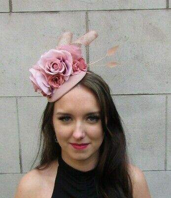 Nude & Dusky Blush Pink Flower Feather Hat Fascinator Races Mother of Bride 9086