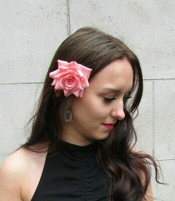 Salmon Coral Pink Rose Flower Hair Clip Fascinator Floral Wedding Races Vtg 9087