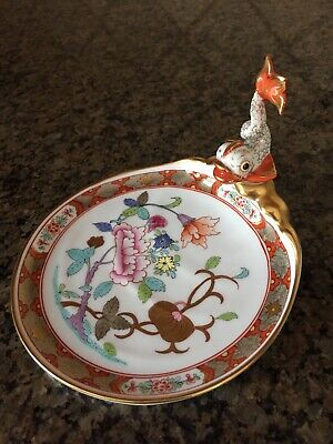 Herend Shanghai Pattern Dolphin/ Koi Fish Soap Dish- Excellent Shape