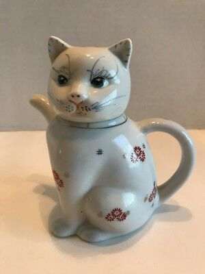 Vintage Chinese Oriental Hand Painted Ceramic Cat Kitten Teapot Or Creamer