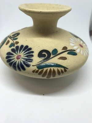 Small Hand Painted Mexican Vase Mexico Sandy Texture Blue Rose White Flowers Tan
