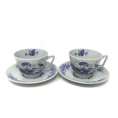 Copeland Spode China Set of 2 Cups & Saucers Bude Pattern Blue Cup England
