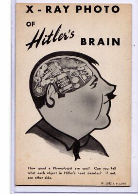 Political Postcard - World War II X-Ray Photo of HItler's Brain - B F Long
