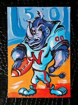 "Original art by Bastet ""Baseball Player Rhinoceros"" OOAK hand painted ACEO"