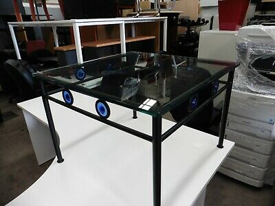 Office 700Mm Square Glass Top Coffee Table Brisbane