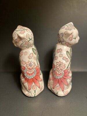 """Vintage Chinese Export Famille Cat Figurines Floral Tobacco Leaf 7"""" China Mark"""