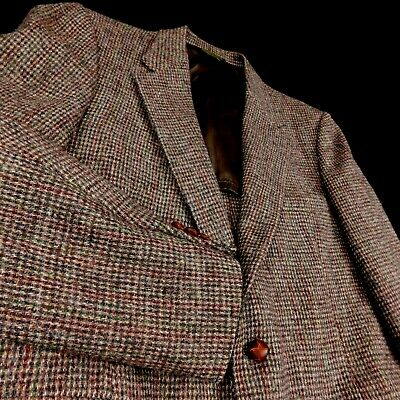 Harris Tweed Brown Hounds tooth Wool Sport Coat Blazer 2 Leather Button Sz 44 R