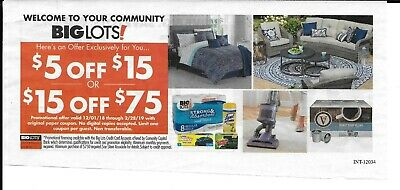 Big Lots Coupon $5 off $15 $15 off $75 In Store Only Expires March 31,2020