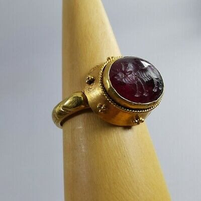 Ancient Sassanian Solid Gold Ring Garnet Bull Carved #344