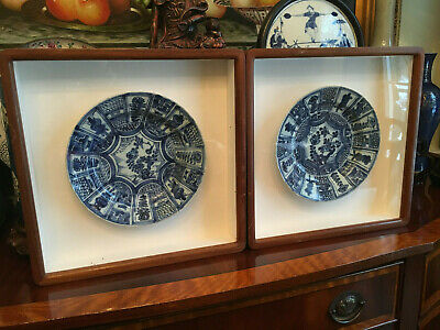 A Pair Chinese Late Ming/Early Qing Blue and White Porcelain Plates, Framed #2.