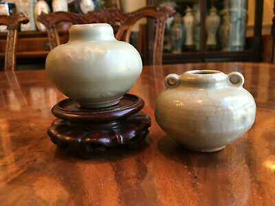 Two Chinese Ming Dynasty Celadon Jars.