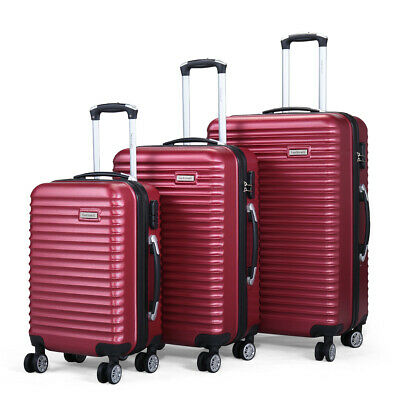 22'' 27'' 30'' 3PCS Set Travel Luggage Bag Spinner Carry On ABS Suitcase Red