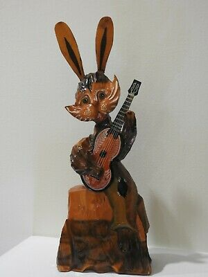"Vintage Ukrainian Hand Carved Wooden cat kitty figurine playing Guitar 15"" Tall"