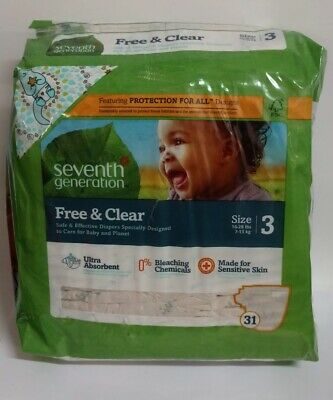 Seventh Generation Free & Clear Baby Diapers, Size 3, 31 Diapers