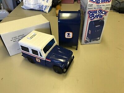 NOS Old USPS Mailbox Bank With Key/box Metal Steel Mail Jeep Bank US Post Office