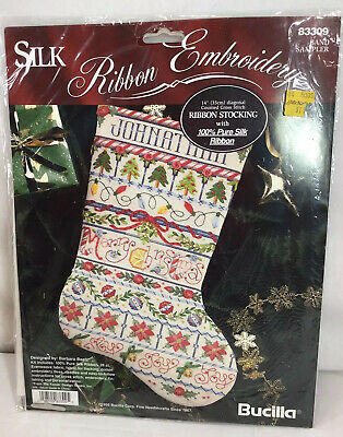 Bucilla 83309 Band Sampler Silk Ribbon Embroidery Stocking New In Package