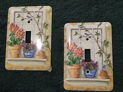 TWO GARDEN FLOWERS WINDOW-LEDGE Switch Plate Covers Single Toggle Retired Style