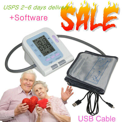 Electronic BP Blood Pressure Monitor LCD Upper Arm FDA PC Analysis Software USB