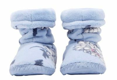 bnwt JOULES PALE BLUE FLORAL GIRLS SOFT SLIPPERS BOOTEES SIZE 8 - 10 INFANT