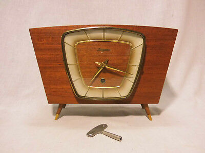Dugena Teak Table Clock, Clock mid Century Design 50s 50er 60s 60er Mechanical