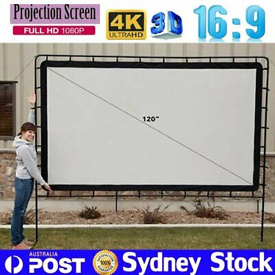 "120"" 16:9 4K Portable Projector Screen Indoor Outdoor Cinema Theatre Projection"