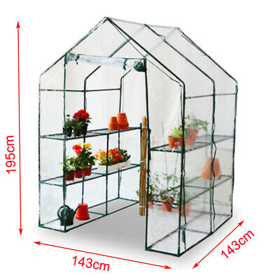Walk-In Large Greenhouse With Shelves/Pvc Plastic Cover Outdoor Garden House