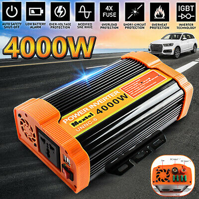 4000W/8000W Peak Power Inverter DC 12V to AC 220V Modified Sine Wave Car Camping