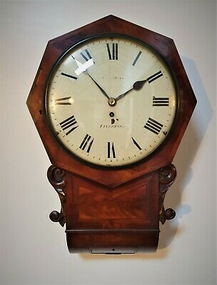 A Fine Quality Flame Mahogany Drop Dial Fusee Wall Clock - Condliff Of Liverpool