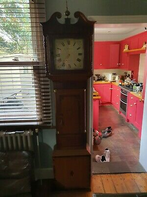 Antique Longcase Grandfather clock, weight driven, 30 hour by J Hubard, Evesham