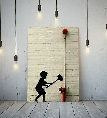 Banksy Park Fairground Boy - Deep Framed Canvas Wall Art Graffiti Print- Red