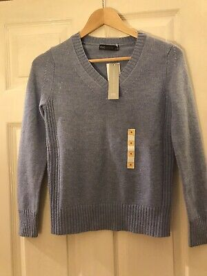 Ladies Marks And Spencer Pale Blue Lambswool V Neck Jumper Size 6 BNWT