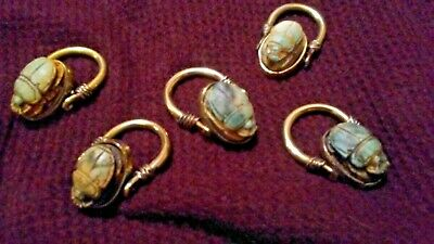 Ancient Egyptian faience Scarab Swivel Ring 5 Rings