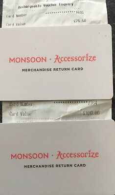 Monsoon / Accessorize Gift Card £196.50 FREE SPECIAL DELIVERY. *LAST PRICE*