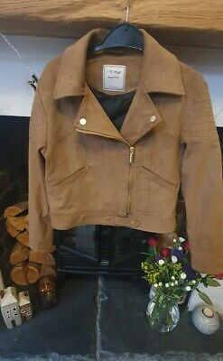 Girls NEXT tan biker style jacket, faux suede, age 10 years (RRP £36) BNWOT