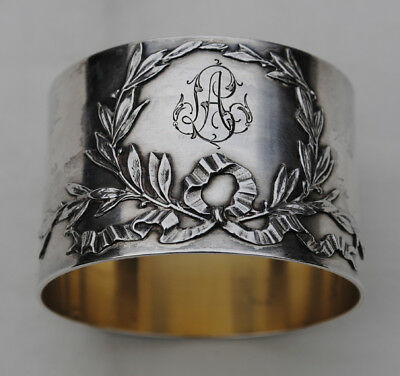Antique French Sterling Silver Napkin Ring Louis Xvi