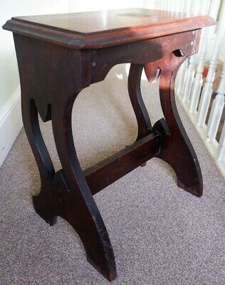 Lovely Antique Dark Wood Prayer Table - Curved Slab Legs